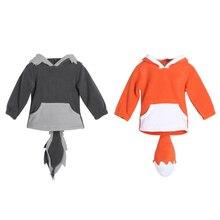 2017 Child Children Cute Hoodies Child Children Toddlers Cute Fox Tops Garments Hoodie Fleece Coat with Tail