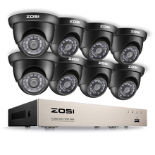 ZOSI 8CH 1080N TVI H.264+ 8CH DVR 8PCS 720P Outdoor/Indoor Dome CCTV Video Home Security Camera System Surveillance Kits