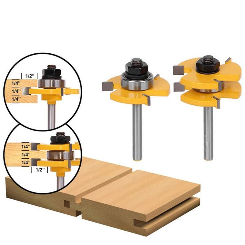 2pcs 1/4 Shank 2 Bit Tongue and Groove Router Bit Set 8 Handles 3 teeth T-type Woodworking Tenon Milling Cutter