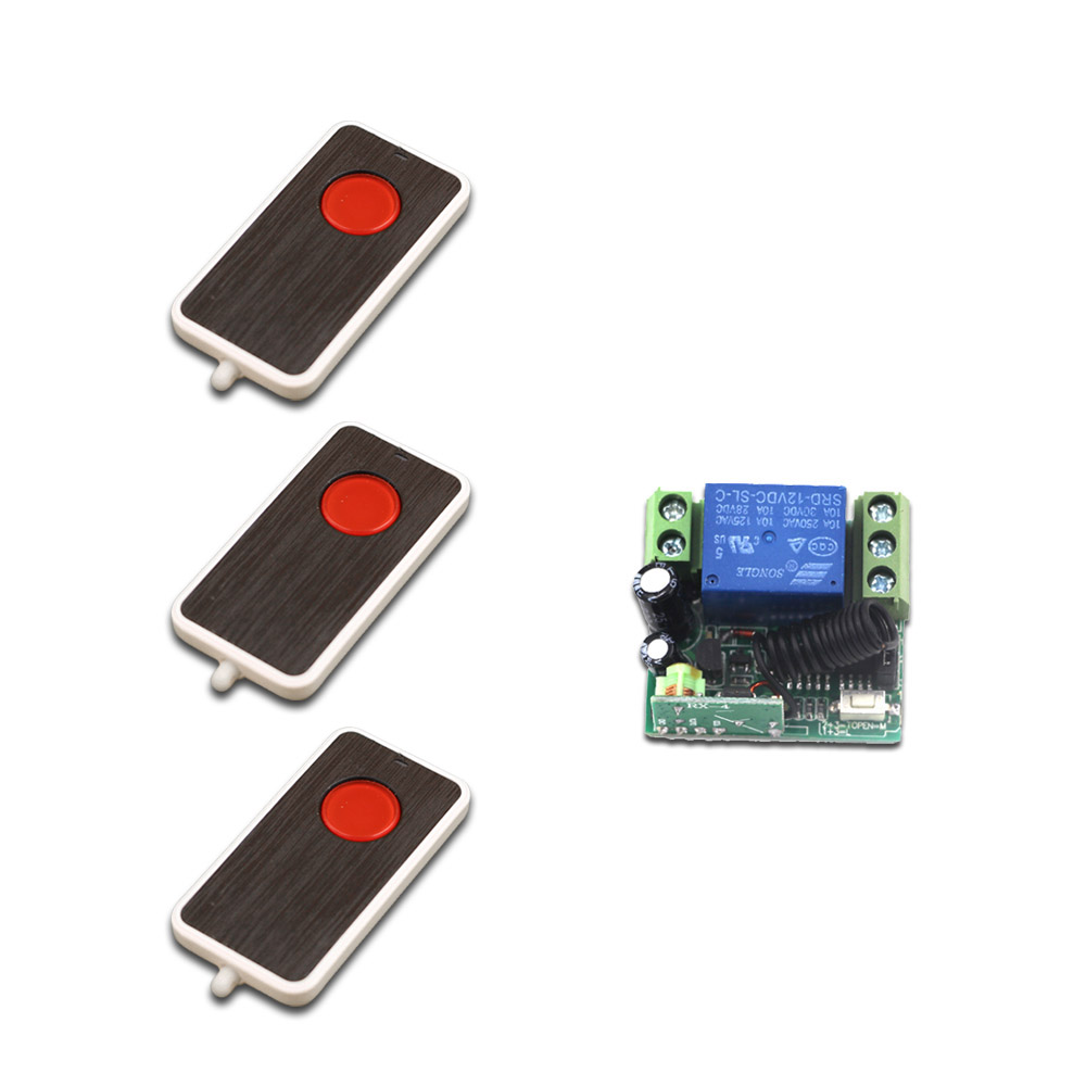New Remote Control Light Switch DC12V Relay 1CH Wireless RF Mini Remote Control Switch 4pcsTransmitter+1pcs Receiver 315/433MHZ