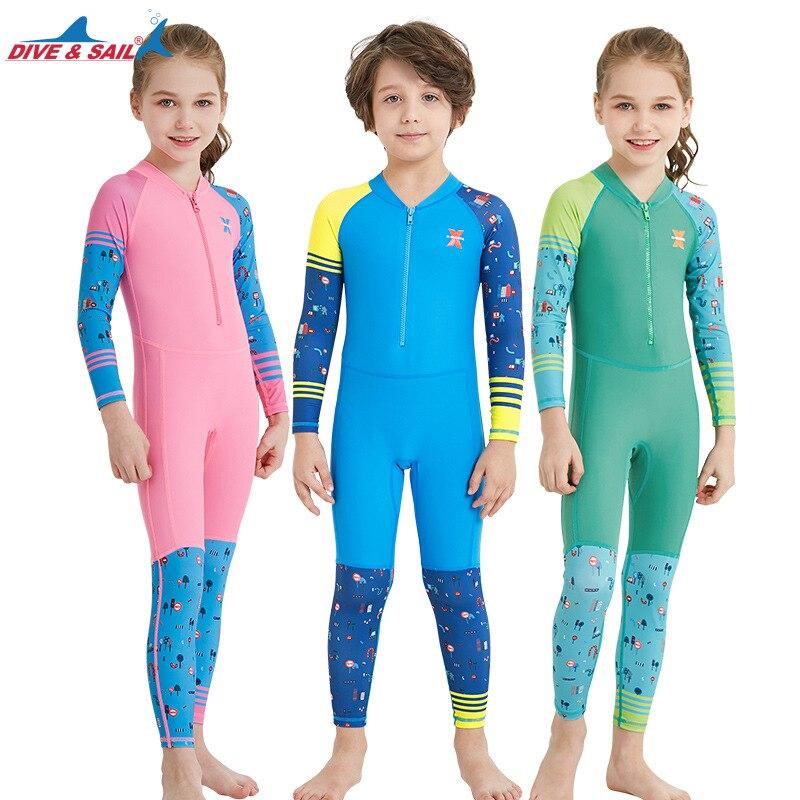 DIVE&SAIL One-piece swimsuits lycra Children Quick-dry Swimwear Suit for Boys Girls Kids Long Sleeve Anti-UV Beachwear