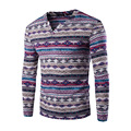 New Fashion Men's Shirt Africa Indian Vintage Folk Ethnic Style T-shirts Homem Cotton Geometric Print Long Sleeve V-neck Tops 21