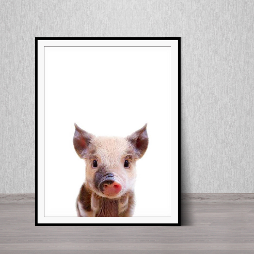 Farm Animal Print Farmhouse Printable Pig Wall Art Nursery Animal Print Nursery Decor Baby Piglet Modern Farmhouse image