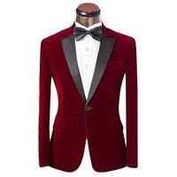 Fashion Men's Velvet Jacket Suit collar single breasted groom dress suit jacket and men's suits custom suit jacket 1 set