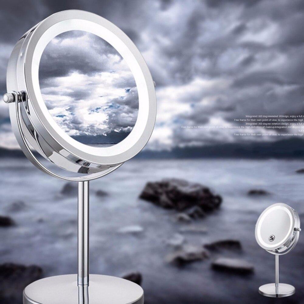 Nice Portable Size 5X Magnification Facial Makeup Cosmetic Mirror Round Shape LED Light Women Desktop Makeup Mirror 2018 New все цены