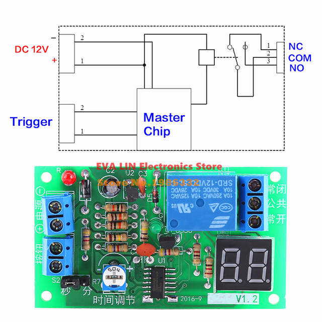 US $2 77 |WS16 Dynamic LED Display 1 99 seconds 1 99 minutes 12V Countdown  Delay Time Timing Relay Module Delay Timer Turn OFF Switch-in Relays from
