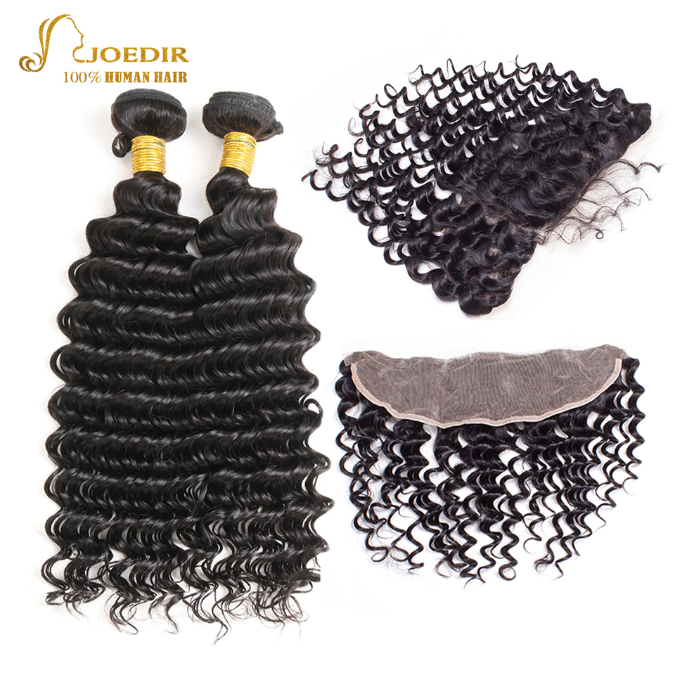 Joedir Deep Wave Bundles With 13 x 4 Closure Hair Extension Indian Deep Wave Human Hair 2 Bundles With Lace Frontal Closure