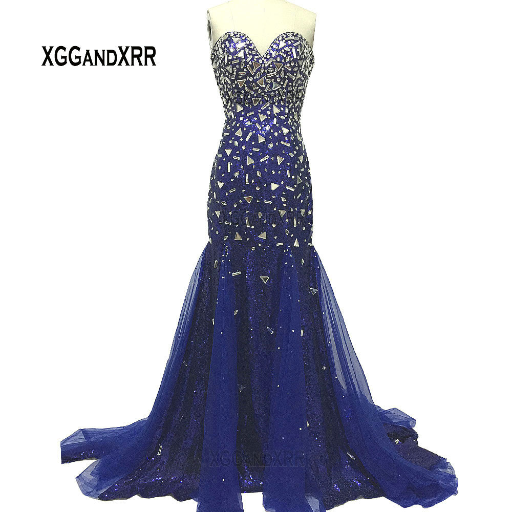 Sexy Sweetheart Long Mermaid   Prom     Dress   2019 Elegant Crystals Backless Royal Blue Sequins Evening   Dress   Luxury Formal Party Gown