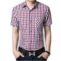 Red And Black Plaid Shirt Men Shirts 2017 Summer Chemise Homme Mens Checkered Shirts Short Sleeve
