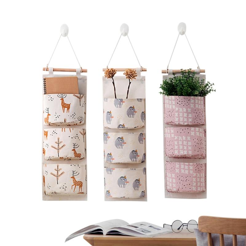 XZJJA Cartoon Multilayer Hanging Organizers Socks Underwear Storage Bag Multi-purpose Cotton Linen Wall Wardrobe Storage Pockets