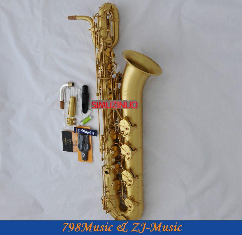 Professionnel jaune Antique baryton Eb Saxophone Bari saxo 2 cou allemagne embout