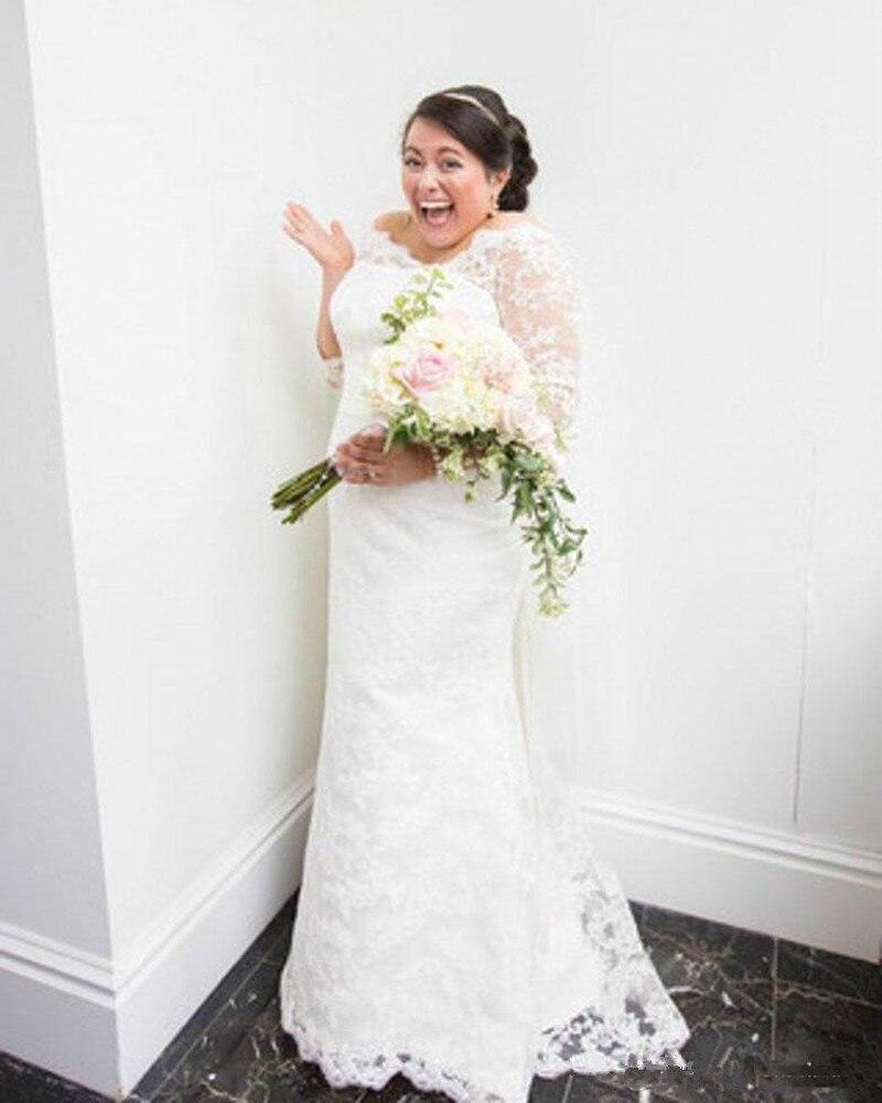 Vestidos кружевные свадебные платья с аппликацией, половина рукава, длина до пола, свадебные платья индивидуального пошива, большие размеры - 2