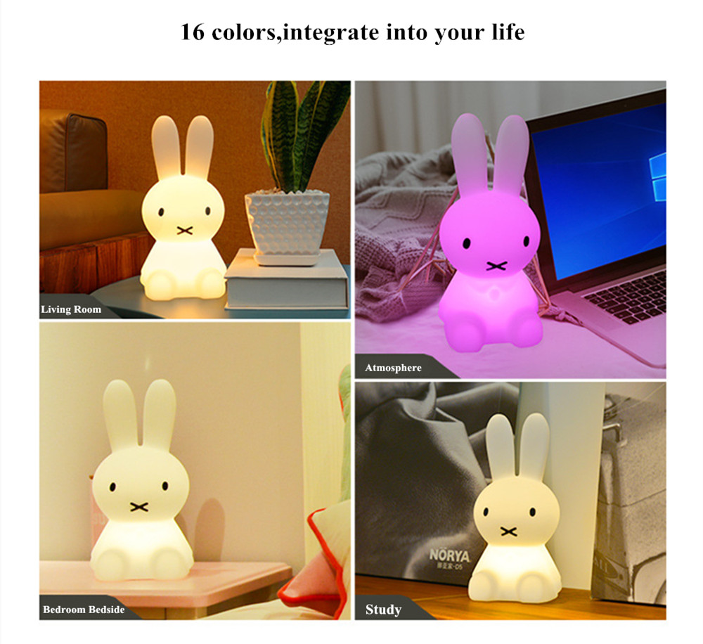 SuperNight Cartoon Rabbit LED Night Light Dimmable Rechargeable Touch Sensor Bedroom Bedside Table Lamp for Baby Kids Toy Gift (29)