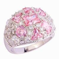 Wholesale Pretty Lady Pink Sapphire & White Sapphire 925 Silver Ring Size 7 8 9 10 Splendide Noble Women Party Jewelry Free Ship