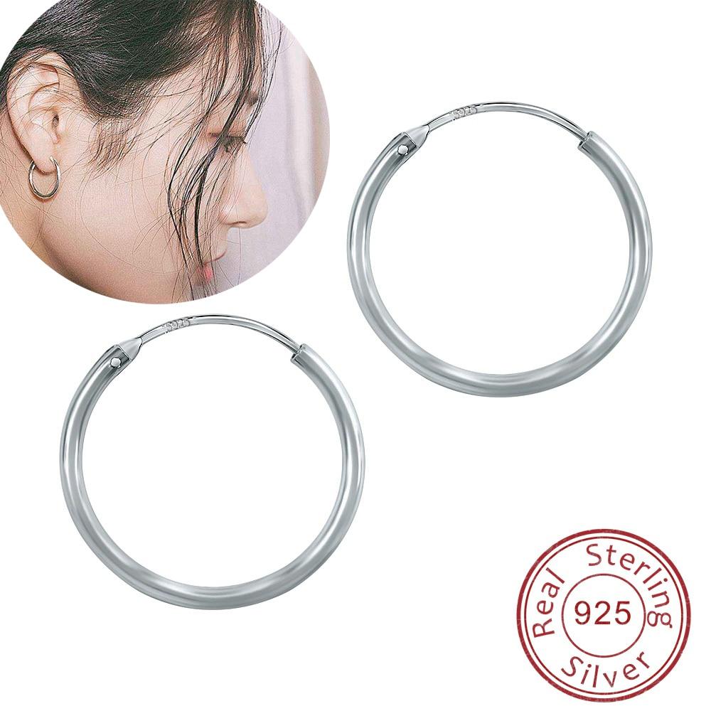 Women/'s Hoops Earrings Silver Plated Fashion Jewelry 18mm