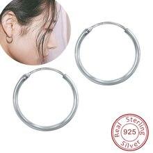 Классические круглые серьги кольца из чистого 925 пробы серебряные