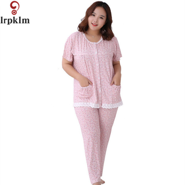 3b7b5b1a7d Cotton Elegant Print Pajama Set Women Short Sleeve Top and Full Pants  Vintage Pyjamas Suit Female Night Clothes 4XL 5XL SY518
