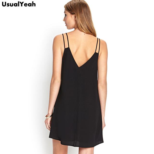 2017 Hot Sale Sleeveless Chiffon Slip Dress Female Summer Dress Sexy V Neck Casual Mini Women Dresses Blue Black S M L XL