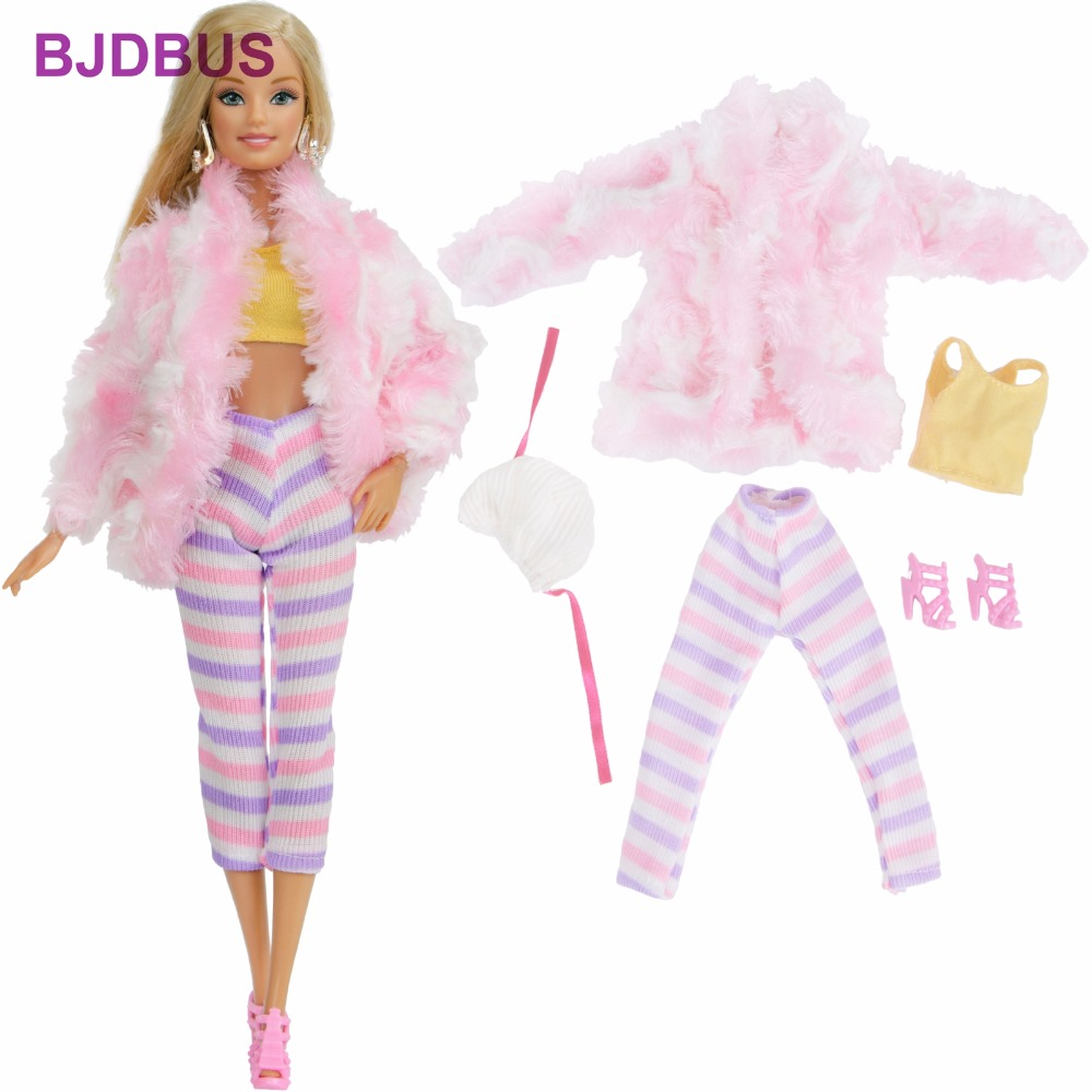dbe3cc457087 Fashion Winter Outfit Casual Wear Pink Coat + Tops + Legging Stripe Pants +  High Heels Shoes + Hat Clothes For Barbie Doll Gifts
