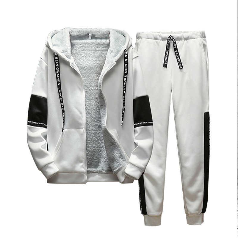 Зимний спортивный костюм для мужчин, комплект из двух предметов, Мужская одежда, толстая Лоскутная Толстовка с капюшоном, куртка + штаны, спортивный костюм, мужская спортивная одежда в стиле кэжуал