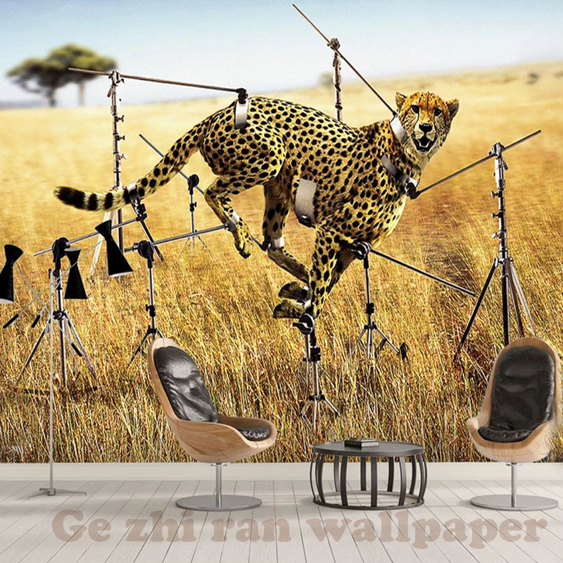 US $16.9 |Custom 3D Mural WallPapers 3D Modern simple creativity Cheetah  Wallpaper Living Room Bedroom TV background Wallpaper Home Decor-in ...