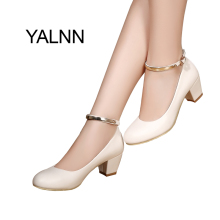 YALNN Women's 5cm High Heels Pumps Office Lady Women Shoes Sexy Bride Party Thick Heel Round Toe Leather High Heel Shoes