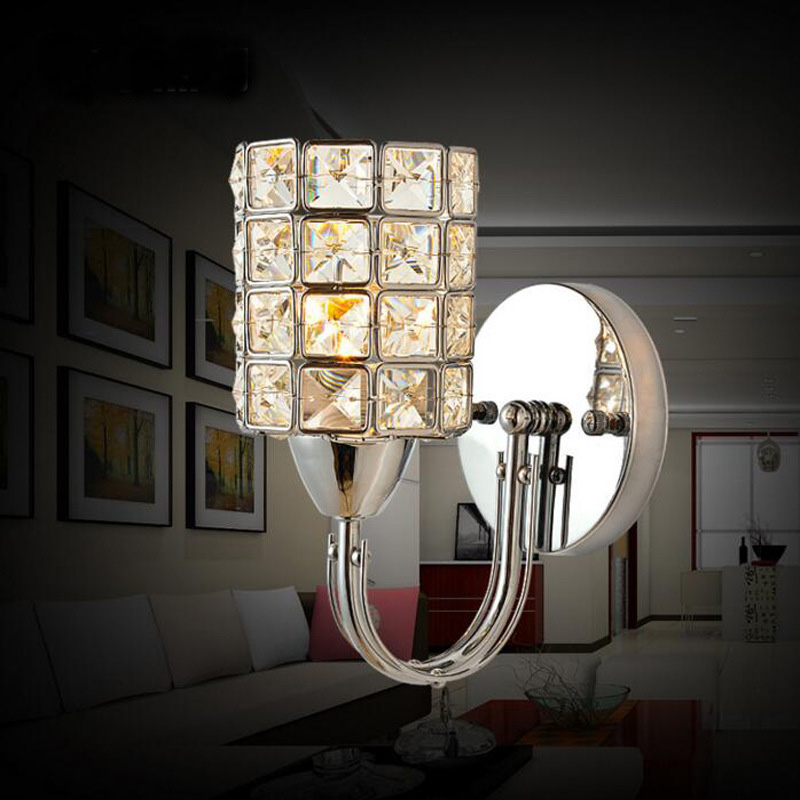 Us 19 77 34 Off Modern Luxury Crystal Wall Light Chrome Finish Sconce Lighting Fixture Indoor Led Fixtures Kit In Lamps