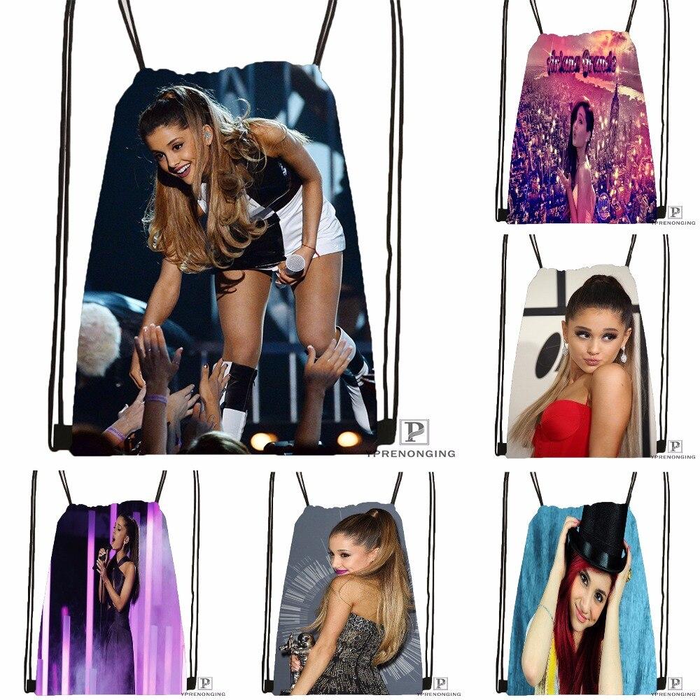 Custom Ariana Grande Drawstring Backpack Bag For Man Woman Cute Daypack Kids Satchel (Black Back) 31x40cm#180531-01-03