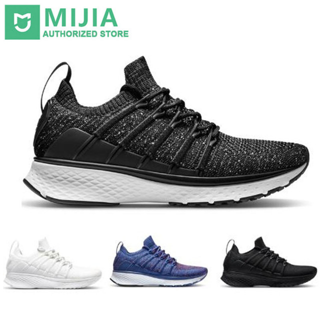 Xiaomi Mijia Smart Sports Shoes 2 Sneaker Uni-moulding Techinique Fishbone Lock System Elastic Knit Vamp Shock-absorbing Sole