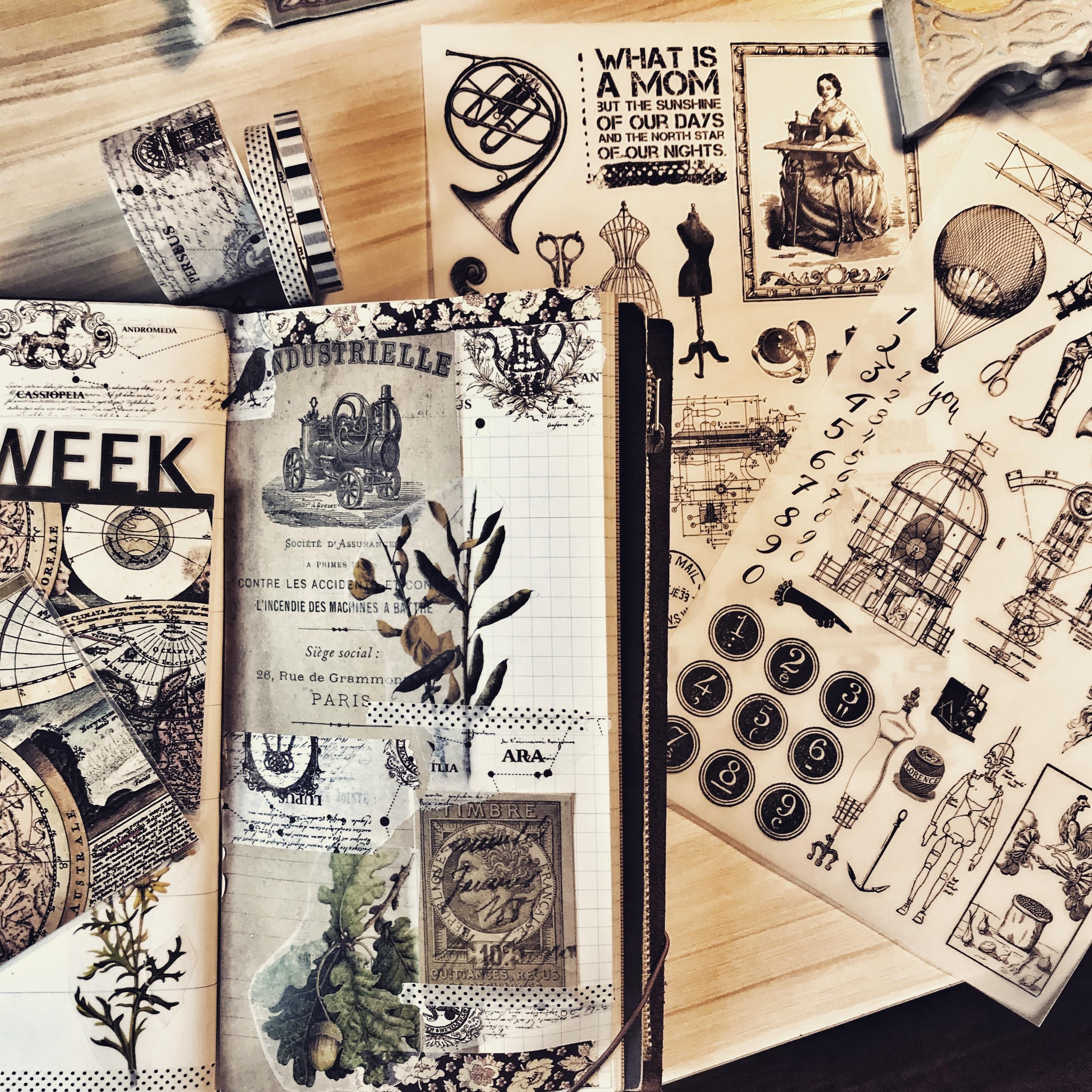 2Pcs Vintage RUB ON Stickers Children DIY Scrapbooking Album Journal Crafts Decorative Transfer Paper Package DIY Photo Albums