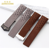 Genuine Leather Bracelet 22mm Watchband Watch Strap For Wrist Watches Brown Breathable Watch Band Accessories Fold