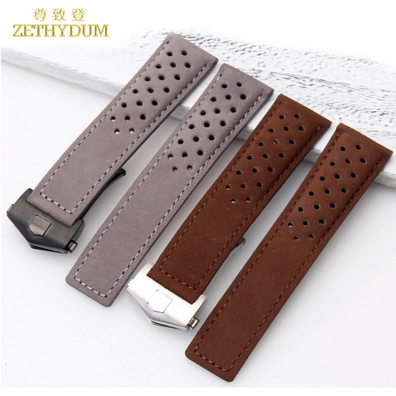 все цены на Genuine Leather Bracelet 22mm Watchband watch strap for wrist watches brown gray breathable Watch band accessories fold buckle онлайн