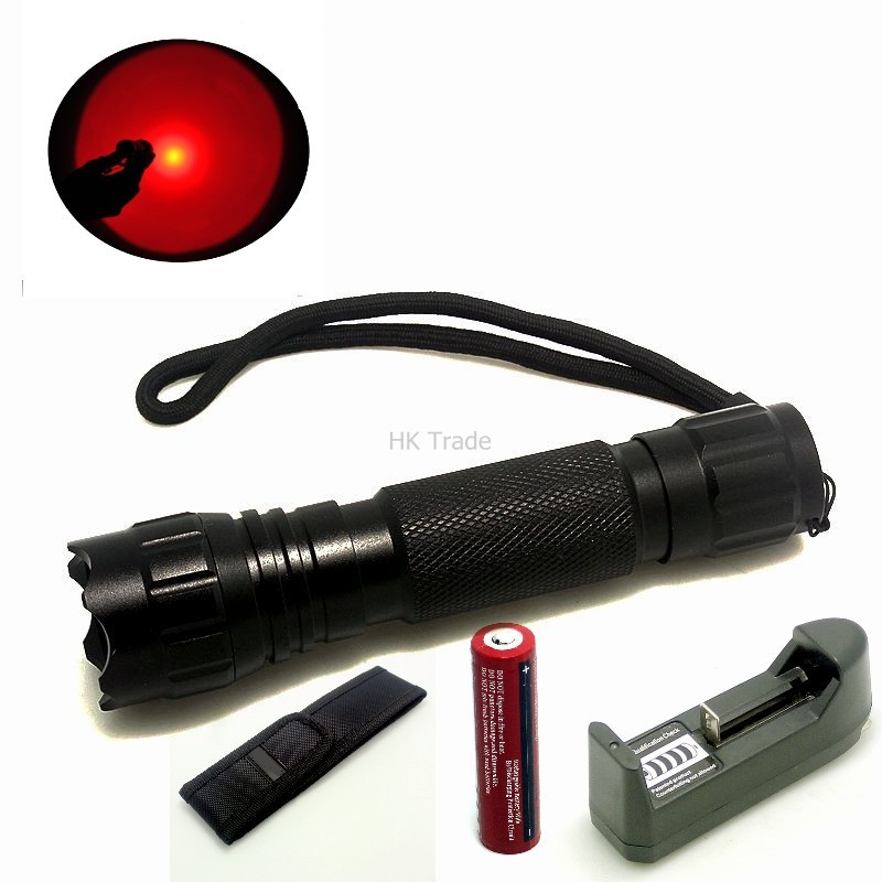 WF-501B RED LED Light 300 Lumen XPE Lanterna Mini Torch For Outdoor Hunting Tactical Flashlight+battery+charger+pouch