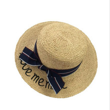 31f205512b1 Women Summer Straw Hats Letter Love Me More Embroidery Flat Sun Hats Ladies  Raffia Bow-