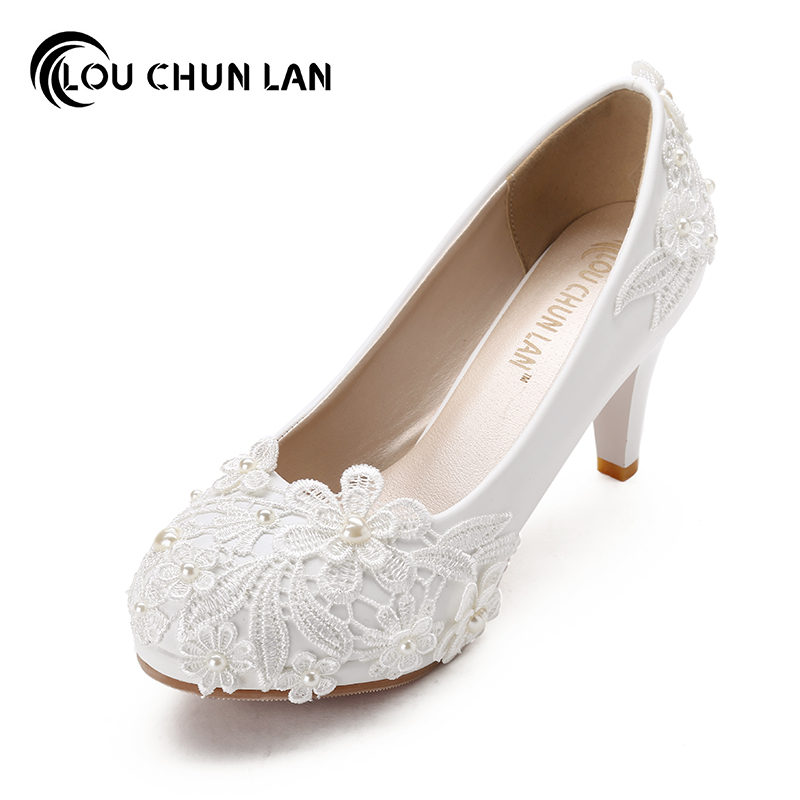 Aliexpress Buy Large Size 41 48 Handmade Wedding Shoes White Pearl High Heeled Lace
