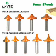 4pcs 5pcs 8mm Shank Round Open End Carving Bit Plunging Round Over Shaker Router Bit Woodwork Milling Cutter for Wood 02096