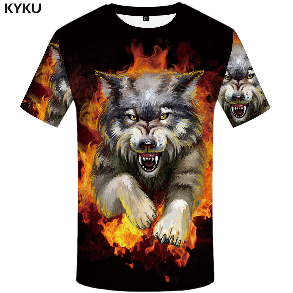 KYKU Wolf T Shirt Men Flame Tshirt Aggressive Anger Shirts