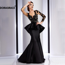 Doragrace Glamorous Ruffles Applique Open Back Mermaid Evening Gowns Long Sleeve Dresses