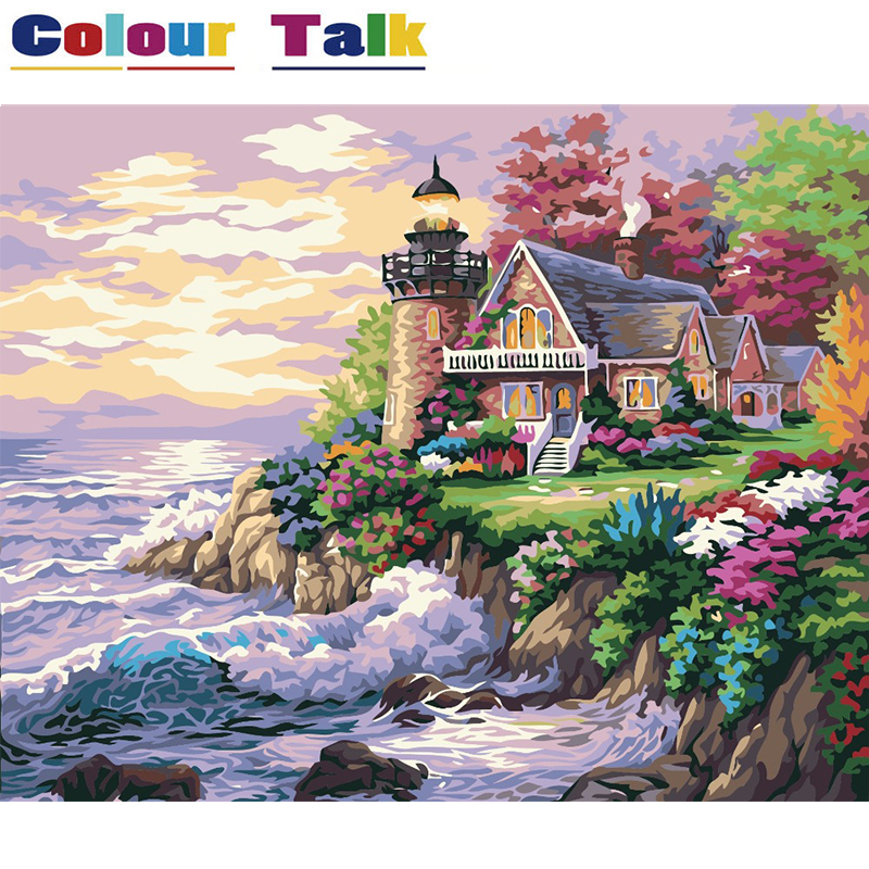 Permalink to Painting by Numbers Painting Calligraphy Pictures Wallpaper DIY Coloring by Numbers Drawing Landscape Home Decor Villa P-0041