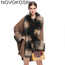 SC126 Women Party Overcoat Cloak High 2017 Long Winter Imitation Fox Fur Collar Knitted Cardigan Cape Faux Cashmere Poncho Shawl sc65 2018 high autumn winter women long black cardigan fake fox fur collar cashmere sweaters shawl knitted cardigan poncho cape