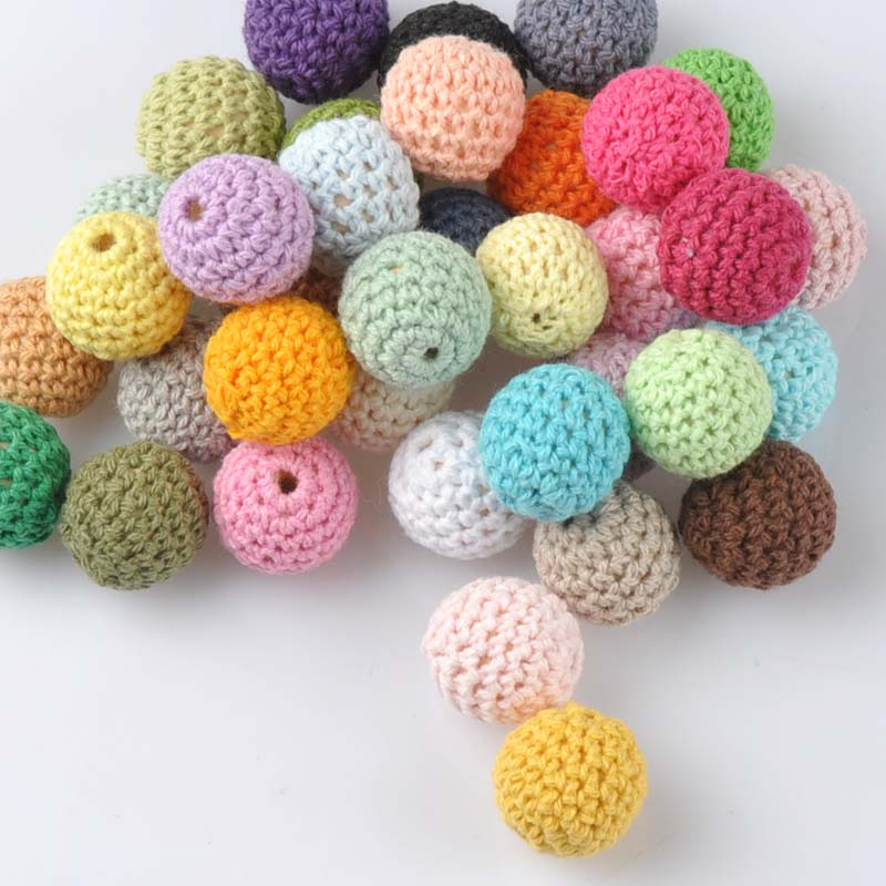 20pcs Mix color Crochet Beads Woolen Yarn For Choose Knitted By Cotton Thread for Jewellery Making 20mm MT2004