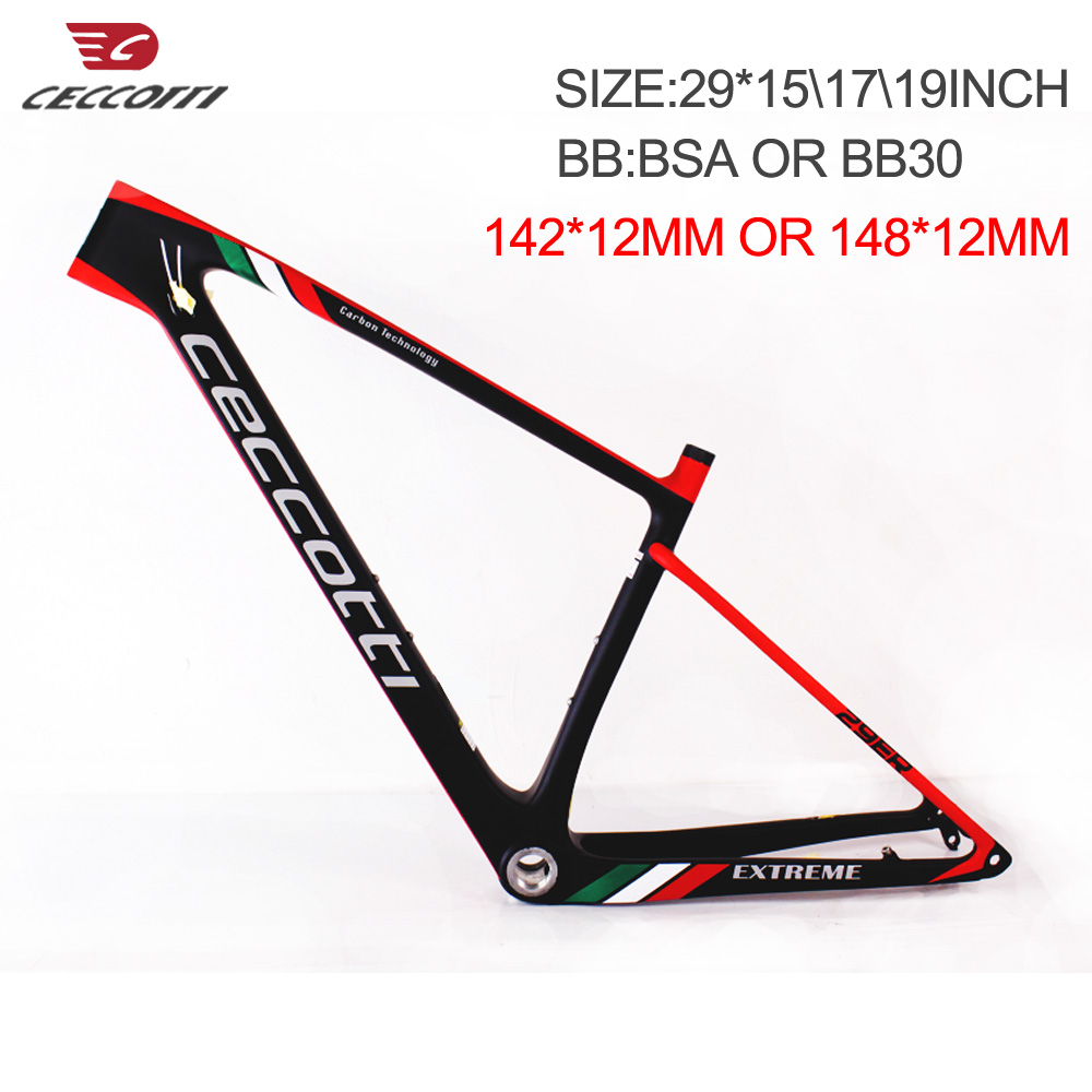 <font><b>Carbon</b></font> bicicletas mountain bike <font><b>29</b></font> 142*12mm thru axle, Durable mtb <font><b>carbon</b></font> <font><b>frame</b></font> 29er with BB30/BSA bottom brakcet image