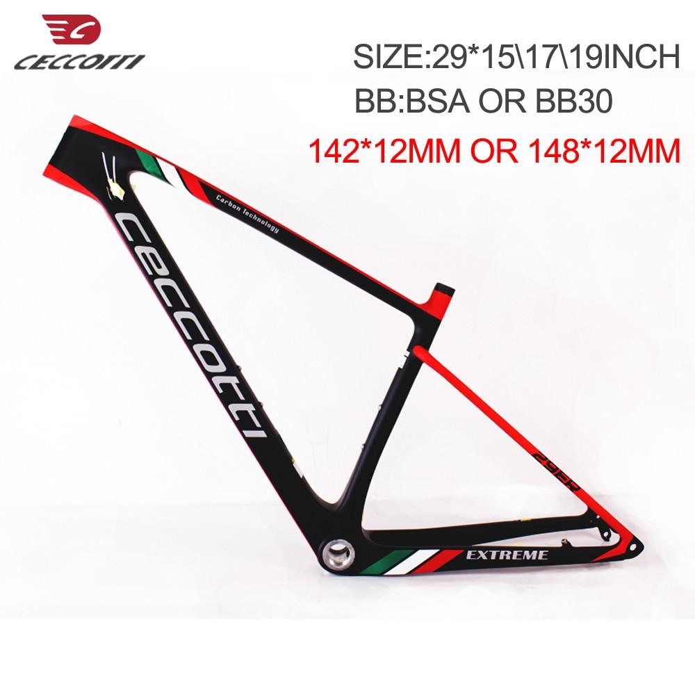 VTT carbone bicicletas 29 142*12mm à travers l'axe, cadre carbone Durable vtt 29er avec support inférieur BB30/BSA
