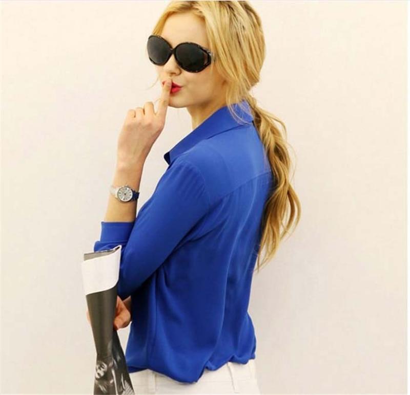 100pcs/lot Women's Shirt Solid Color Long Sleeve Large Size Chiffon Shirt Comfortable Slim Office Top 5 Colors 3