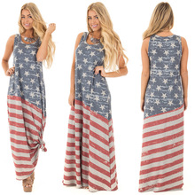 Летом женские Платья Без Рукавов Шею Длинным Платье Американский Флаг Печати Свободные Платья Женский День Независимости Большой Размер Платья
