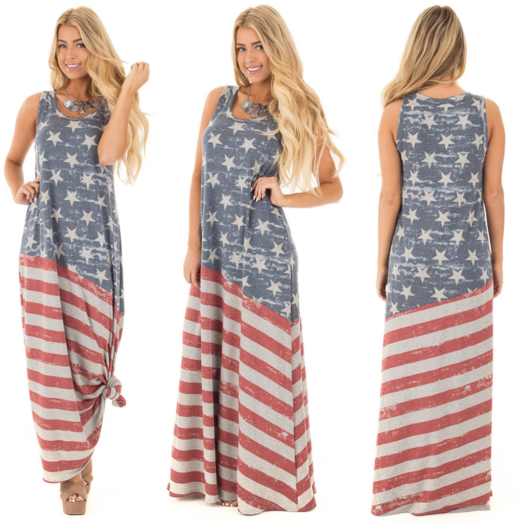 Summer Women's Dress Sleeveless Round Neck Long Dress American Flag Print Loose Dress Female Independence Day Large Size Dress