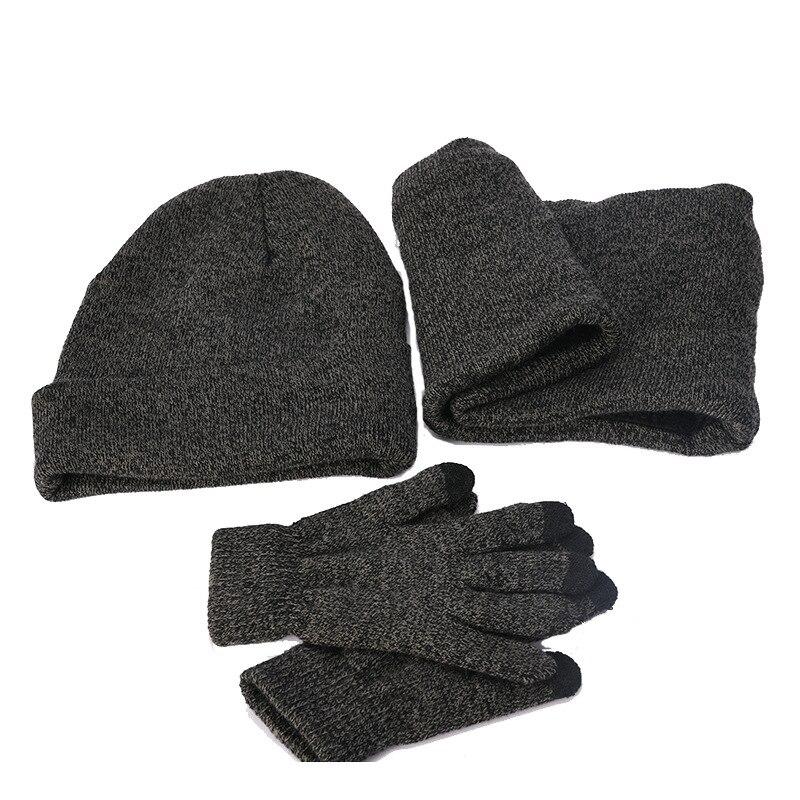 Елезов 3 шт./компл. плюшевые, вязаная шапка бини с наушниками, Сенсорный экран перчатки и шарф-воротник Для мужчин теплые зимние водительские перчатки Череп снежные шапки Новые - Цвет: Серый