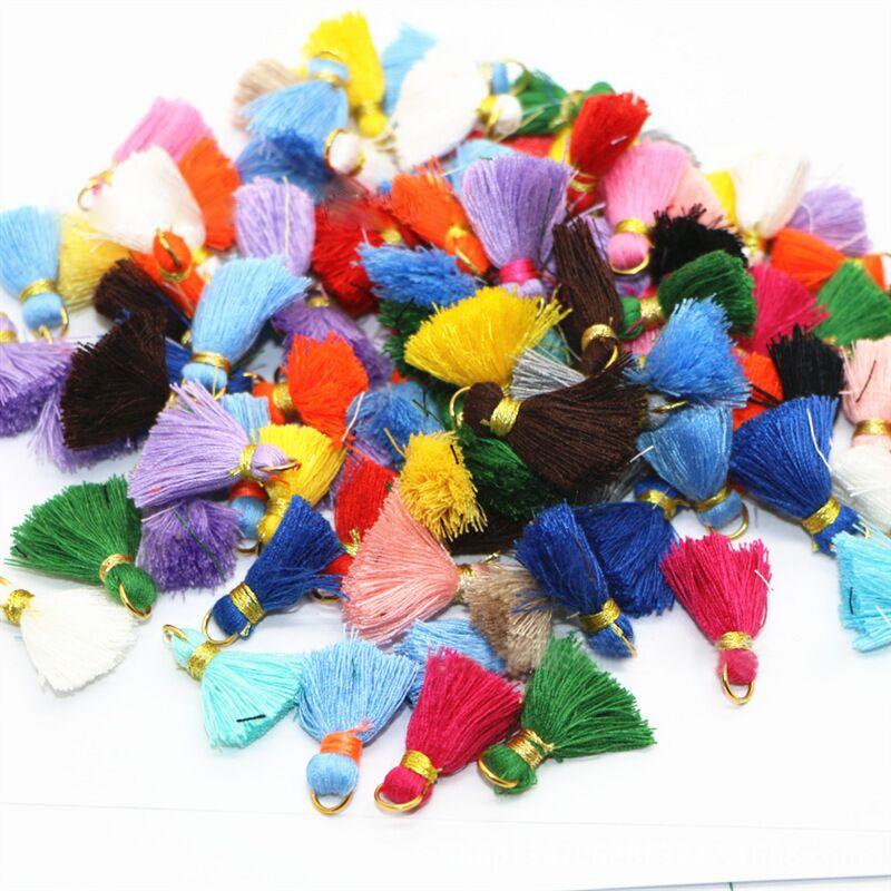 30Pcs Color Mini Tassel Fringe DIY Material Cotton Cord Tassel Trim Garments Curtains Decorative Tassels Lace Ribbon Accessories