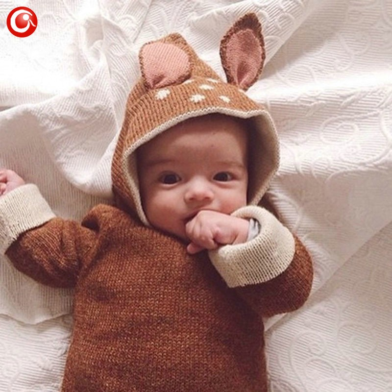 12M-4Y Baby Girls Christmas Deer Costume Cardigan Toddler Kids Boys Dot Animal Knitted Crochet Sweater Outwear Clothing 2016 (3)