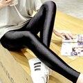 Блеск брюки леггинсы женские тонкие лодыжки длина брюки носки плюс размер черные узкие брюки